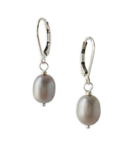 Gray freshwater pearl drop earrings handcrafted by Carrie Whelan Designs