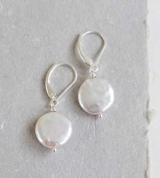 Handmade white coin pearl earrings with lever back in sterling by Carrie Whelan Designs