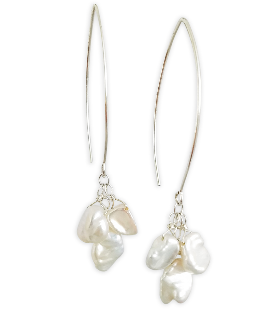 Elise White Keshi Pearl Cer Earrings With Long Earwire Handcrafted By Carrie Whelan Designs