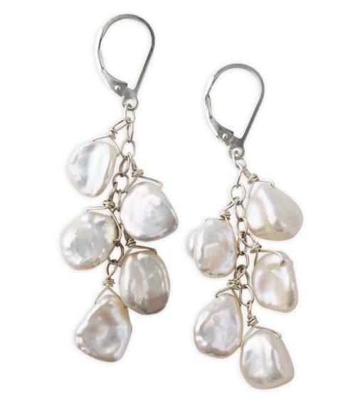 white keshi pearl cluster earrings handcrafted by Carrie Whelan Designs