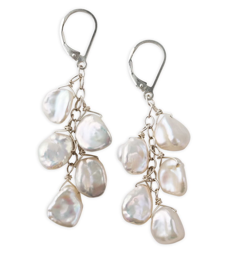 White keshi pearl cascade earrings handcrafted by Carrie Whelan Designs