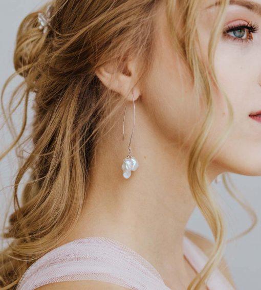 Long dangle pearl cluster earrings handcrafted by Carrie Whelan Designs