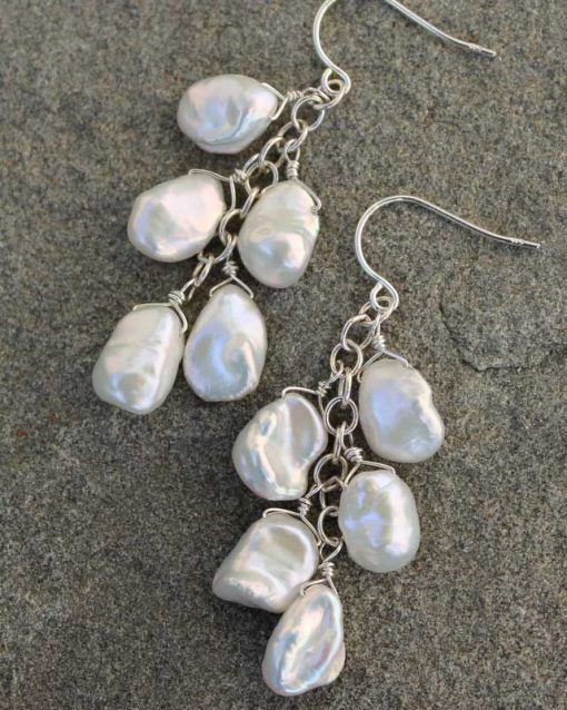 White keshi pearl and sterling silver chain earrings handcrafted by Carrie Whelan Designs