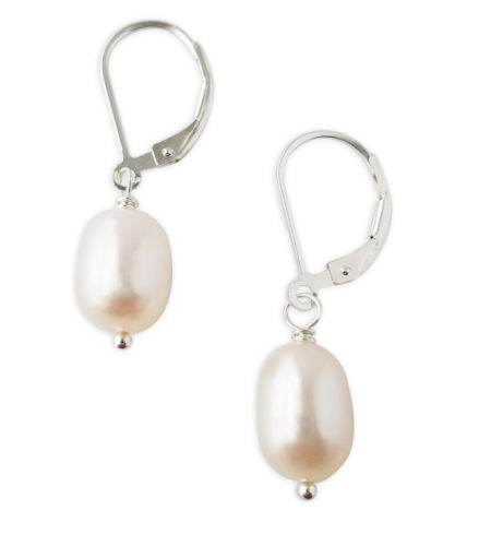 White freshwater pearl drop earrings handcrafted by Carrie Whelan Designs