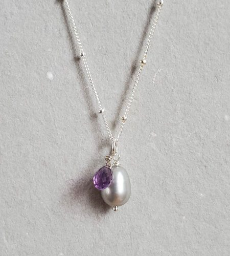 Gray pearl and amethyst pendant in sterling silver handmade by Carrie Whelan Designs