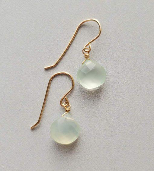 Aqua chalcedony 14kt gold fill earrings handmade by Carrie Whelan Designs