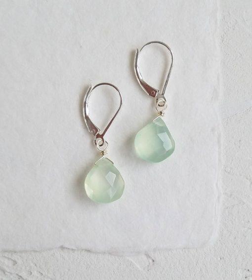 Aqua chalcedony drop earrings handmade by Carrie Whelan Designs