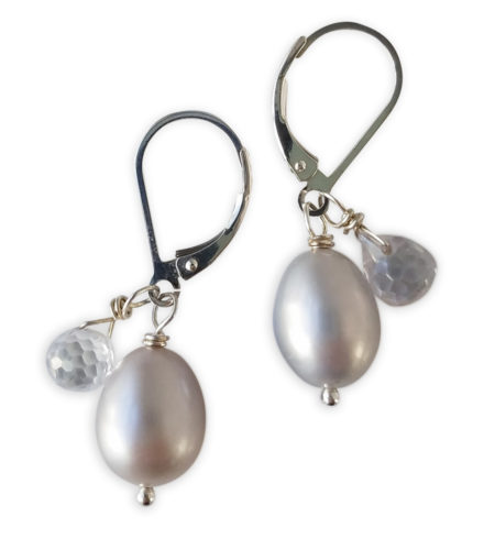Gray pearl and cubic zirconia drop earrings handcrafted by Carrie Whelan Designs