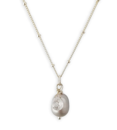 Gray pearl and cubic zirconia drop necklace in sterling silver by Carrie Whelan Designs