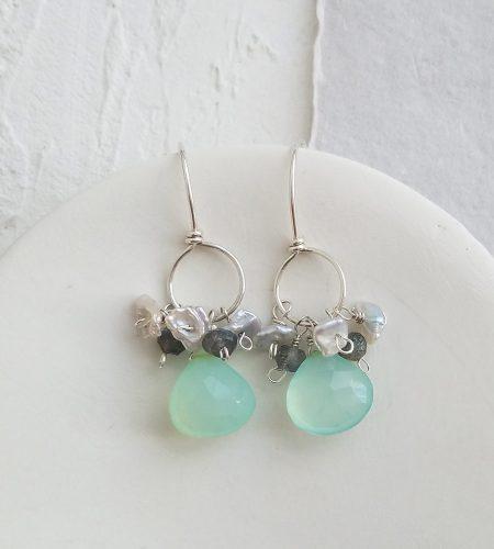 Aqua gemstone cluster hoop earrings handmade by Carrie Whelan Designs