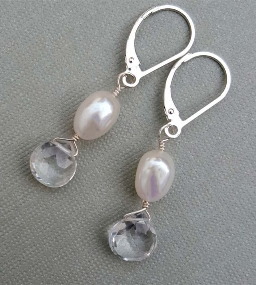 Clear gemstone and pearl drop bridal earrings handcrafted by Carrie Whelan Designs