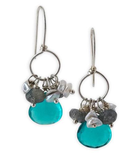 Teal gemstone cluster hoop earrings handcrafted by Carrie Whelan Designs