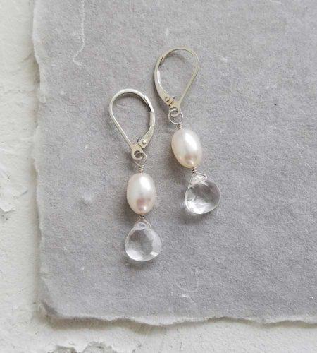 Petite pearl quartz drop earrings handcrafted in silver by Carrie Whelan Designs