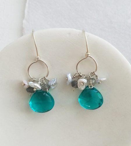 Teal gemstone cluster hoop earrings in silver by Carrie Whelan Designs