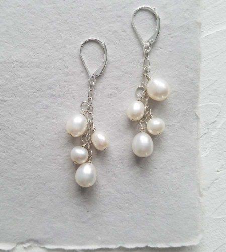 White pearl chain earrings in sterling silver handmade by Carrie Whelan Designs