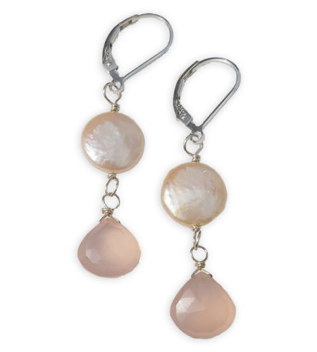 Coin pearl and blush pink drop earrings handcrafted in sterling silver by Carrie Whelan Designs