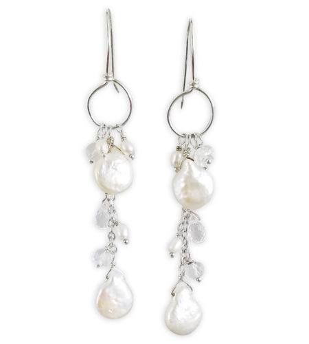 Crystal quartz and pearl chain hoop earrings handcrafted bridal jewelry by Carrie Whelan Designs