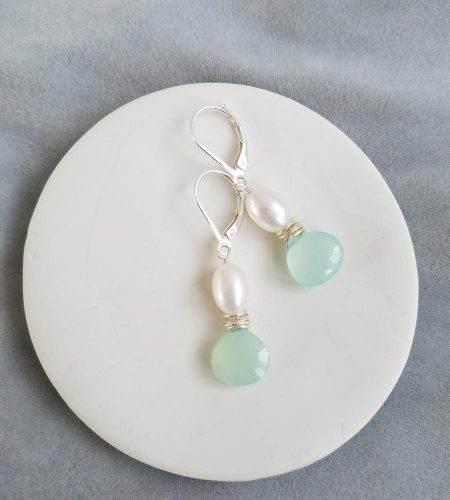 Aqua chalcedony pearl in sterling silver earrings handcrafted by Carrie Whelan Designs
