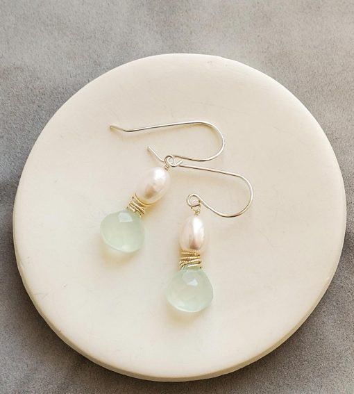 Aqua chalcedony and pearl earrings in sterling silver handmade by Carrie Whelan Designs