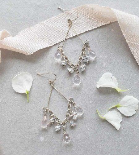Rose quartz and pearl chandelier earrings handmade in silver by Carrie Whelan Designs