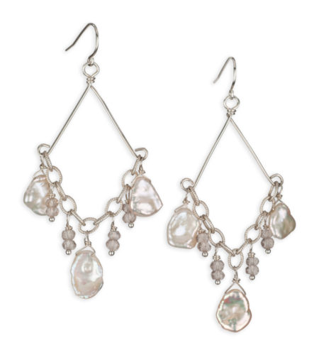 Champagne pearl silver chandelier earrings handcrafted by Carrie Whelan Designs