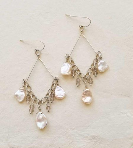 Champagne pearl chandelier earrings for wedding handcrafted by Carrie Whelan Designs