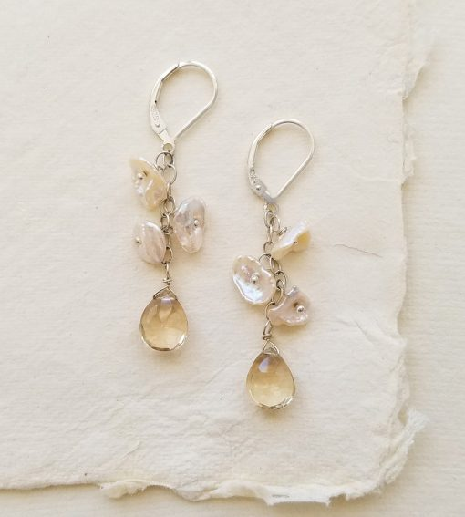 Natural keshi pearl and quartz dangle earrings handcrafted by Carrie Whelan Designs