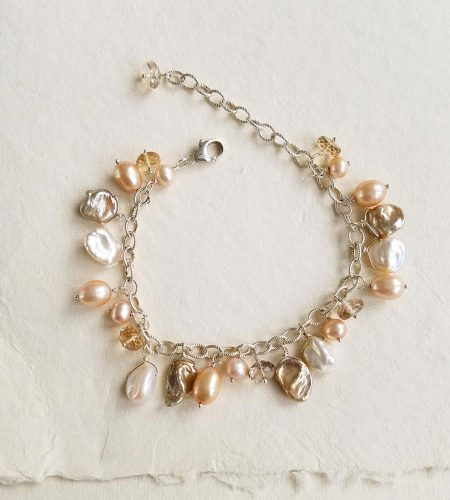 Champagne pearl chain bracelet handcrafted by Carrie Whelan Designs