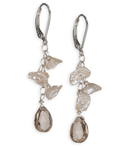 keshi pearl and champagne drop earrings handcrafted by Carrie Whelan Designs