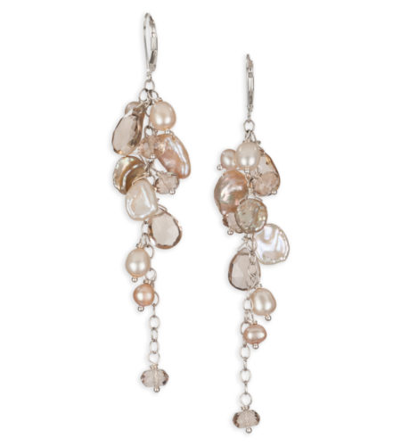 Long champagne pearl statement earrings handcrafted by Carrie Whelan Designs