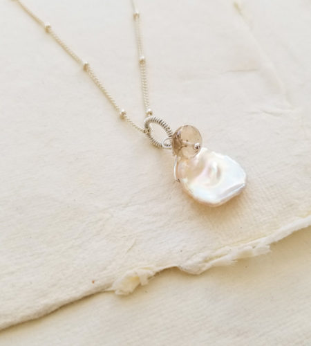 Champagne pearl gemstone pendant by Carrie Whelan Designs