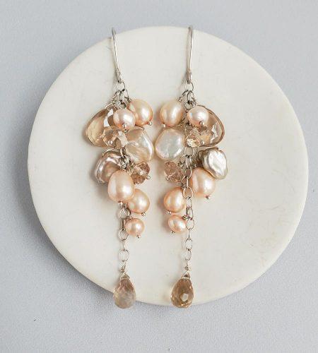 Long champagne pearl cluster earrings in sterling silver handmade by Carrie Whelan Designs