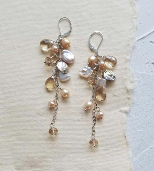 Long champagne statement earrings in sterling silver handmade by Carrie Whelan Designs