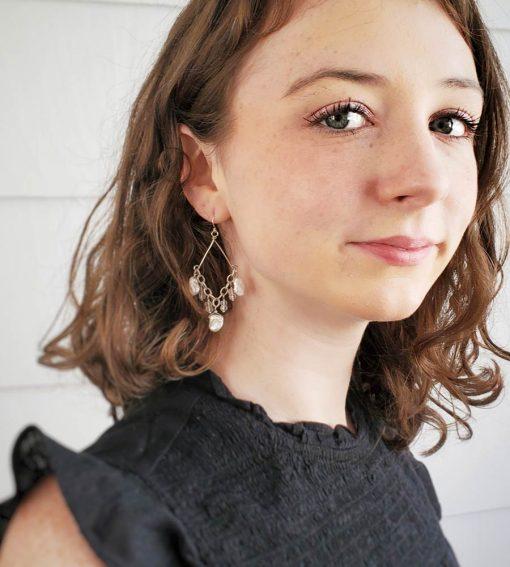 Keshi pearl chandelier earrings handmade in sterling silver by Carrie Whelan Designs