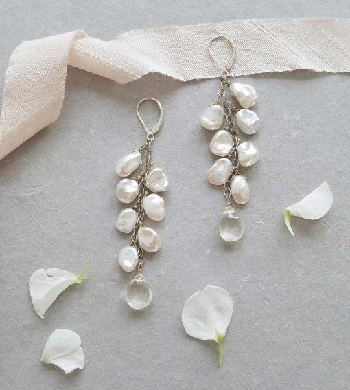 Long pearl cluster drop earrings in silver by Carrie Whelan Designs