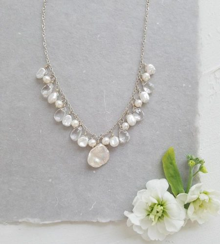 Petal Pearl and gemstone cluster necklace handcrafted by Carrie Whelan Designs