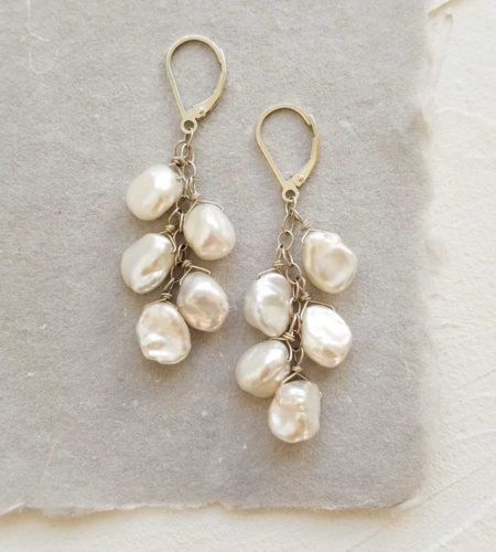 white keshi cluster pearl earrings handcrafted in sterling silver from Carrie Whelan Designs