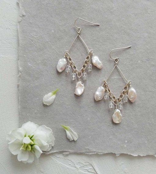 White keshi pearl chandelier earrings handcrafted in sterling silver by Carrie Whelan Designs