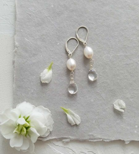 White pearl and clear teardrop earrings handcrafted by Carrie Whelan Designs