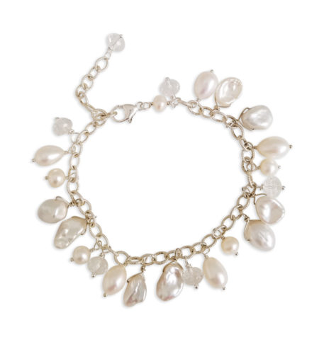 white pearl dangle bracelet handcrafted in sterling silver by Carrie Whelan Designs