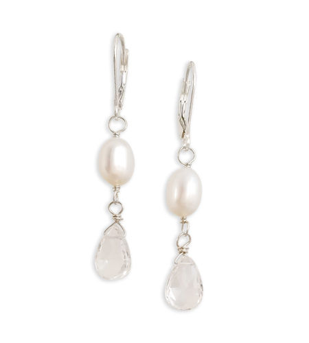 delicate white pearl with clear teardrop earrings handcrafted by Carrie Whelan Designs