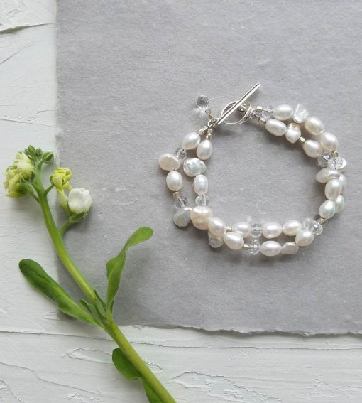 White layered pearl bracelet by Carrie Whelan Designs