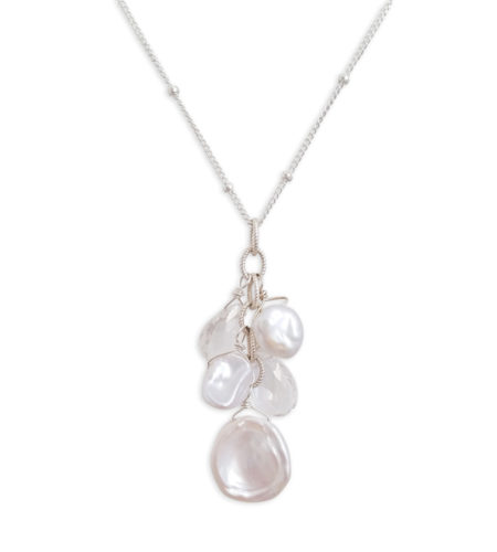 white keshi pearl Y necklace by Carrie Whelan Designs