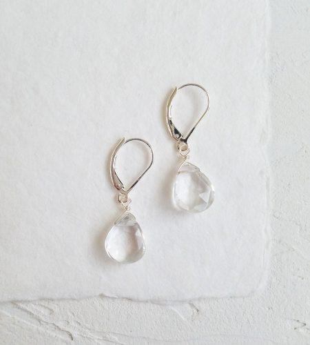 Handcrafted clear drop gemstone earrings by Carrie Whelan Designs