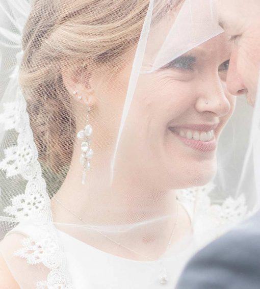Keshi pearl bridal earrings handmade bridal jewelry by Carrie Whelan Designs