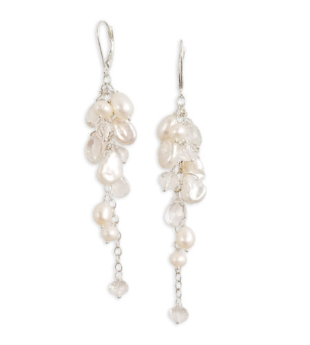 long white freshwater pearl statement earrings handcrafted by Carrie Whelan Designs