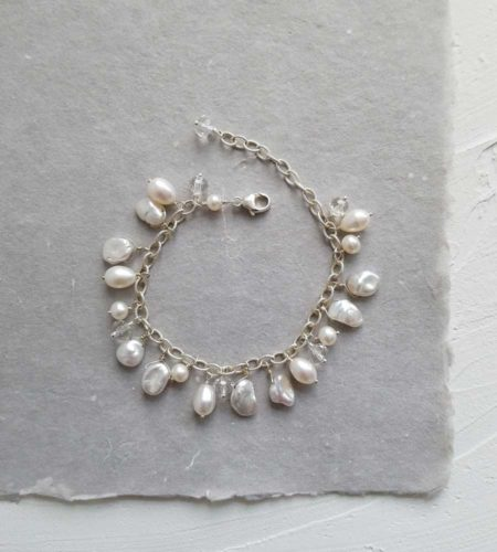 Pearl dangle bracelet handcrafted in sterling silver by Carrie Whelan Designs