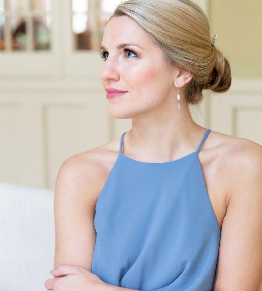 Pearl earrings for bridesmaid gift handmade by Carrie Whelan Designs