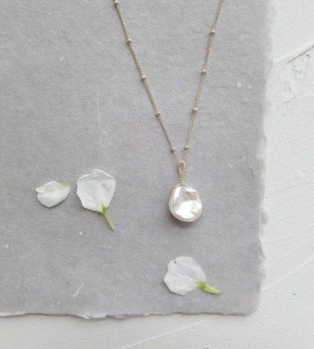 Single pearl bridal pendant handmade by Carrie Whelan Designs