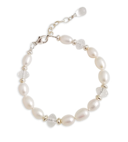 white freshwater pearl bracelet with clear gemstones by Carrie Whelan Designs